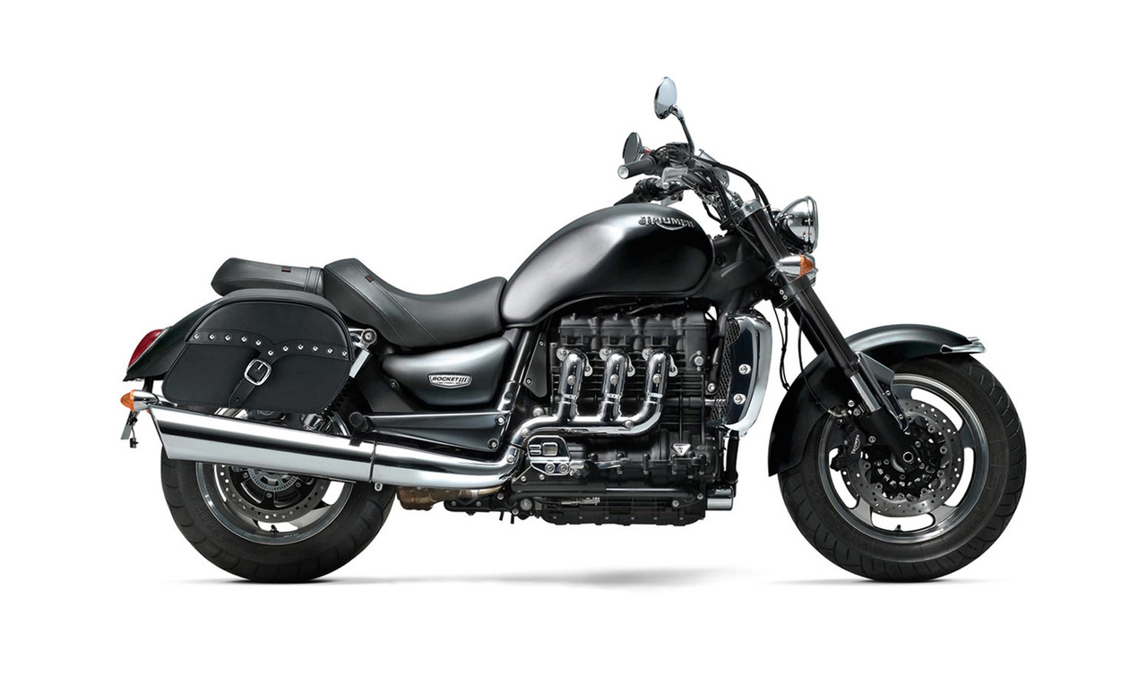 Triumph Rocket III Roadster SS Slanted Studded Medium Motorcycle Saddlebags Bag on Bike View