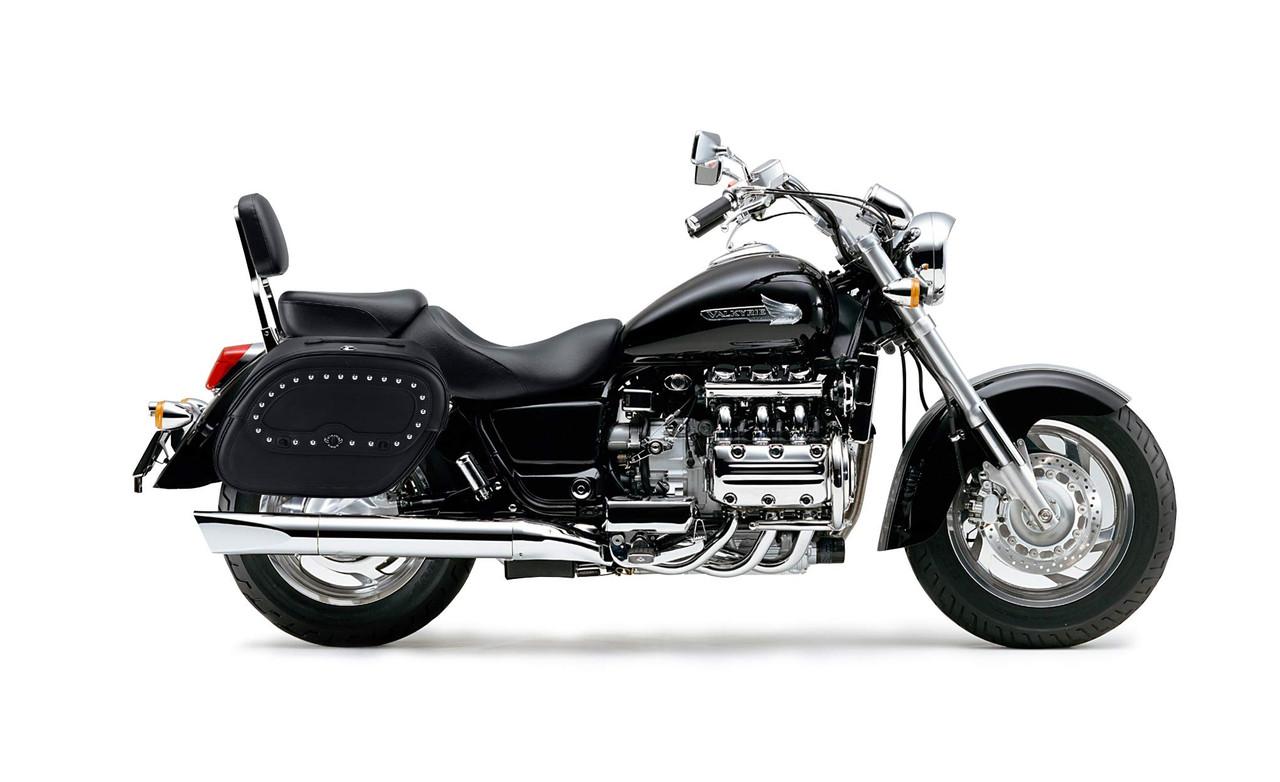 Honda 1500 Valkyrie Standard Spear Shock Cutout Studded Motorcycle saddlebags Bag On Bike View
