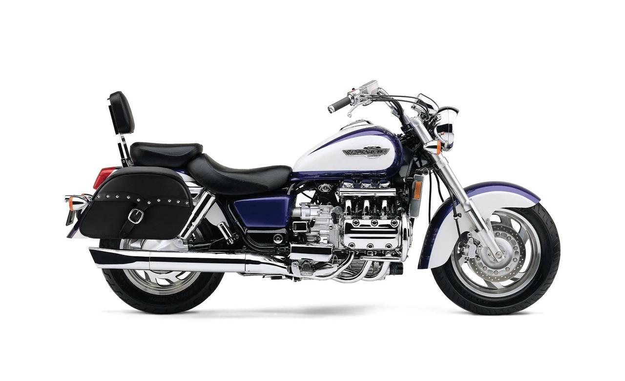 Honda 1500 Valkyrie Interstate SS Slanted Studded Large Motorcycle Saddlebags Bag on Bike View