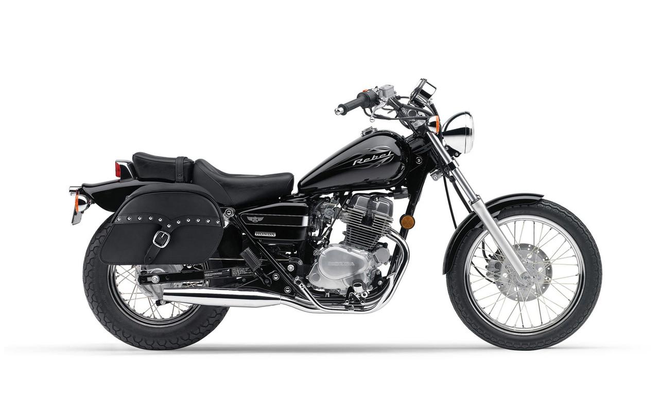 Honda CMX 250C Rebel 250 SS Slant Studded Medium Motorcycle Saddlebags Bag On Bike View