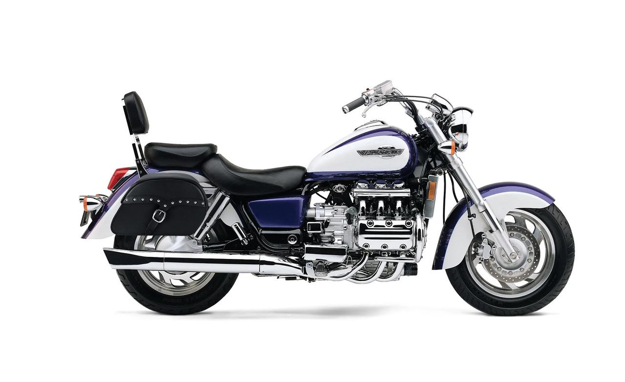 Honda 1500 Valkyrie Interstate SS Slanted Studded Medium Motorcycle Saddlebags Bag on Bike View