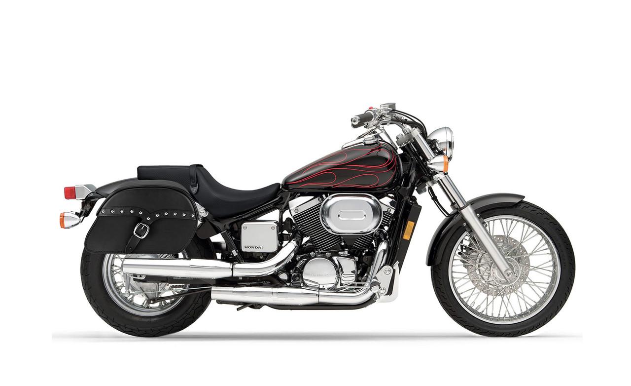 Honda 750 Shadow Spirit DC Medium SS Slanted Studded Motorcycle Saddlebags Bag on Bike View