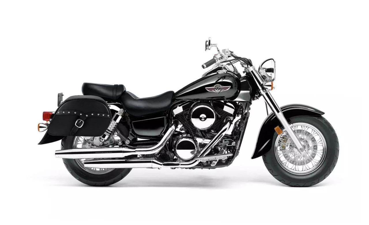 Kawasaki Vulcan 1500 Classic SS Slanted Studded Large Motorcycle Saddlebags Bag On Bike View