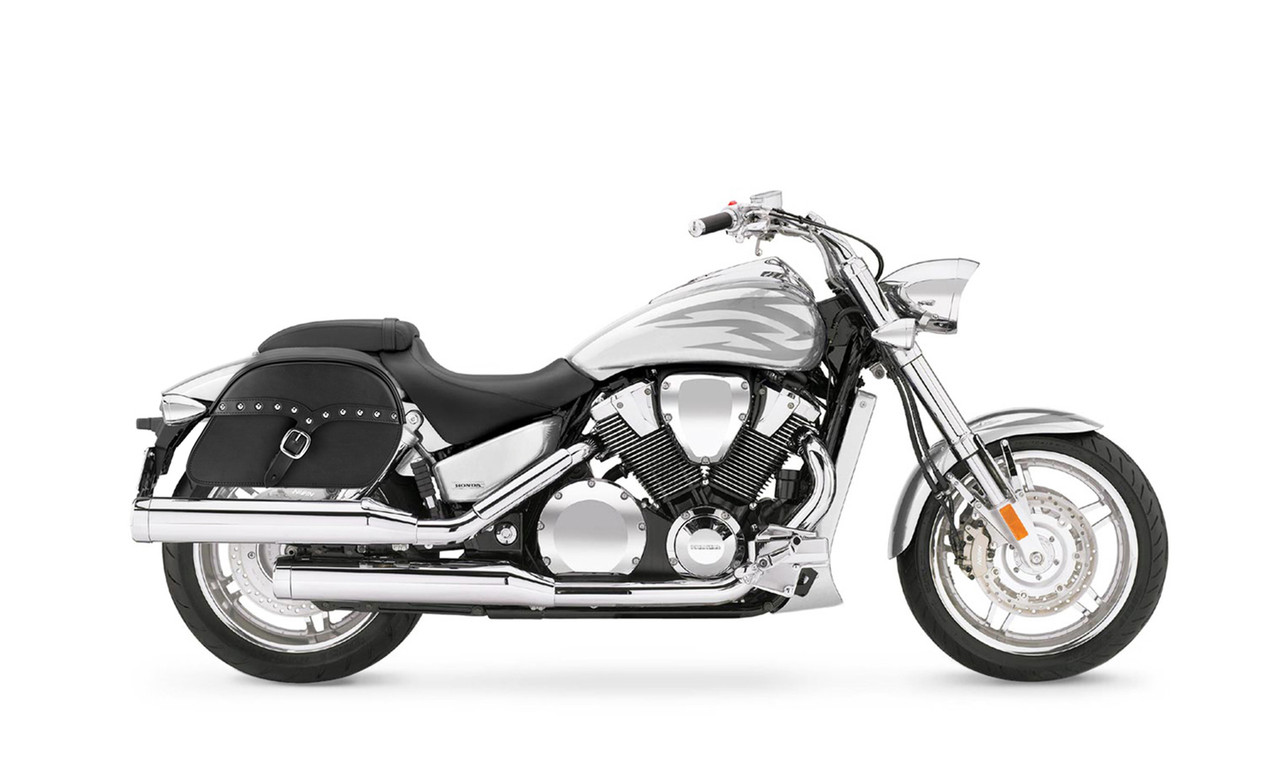 Honda VTX 1800 F SS Slanted Studded M Motorcycle Saddlebags Bag on Bike View