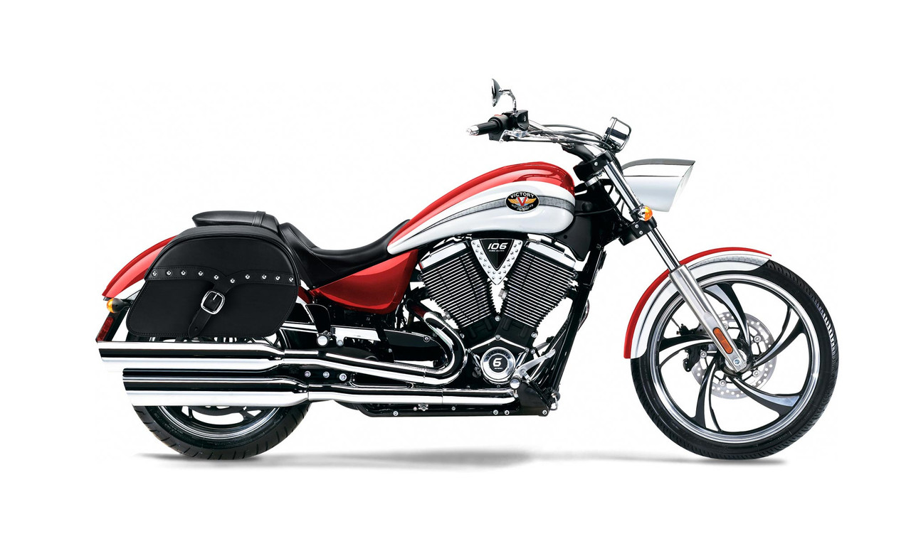 Victory Vegas Large SS Slanted Studded Motorcycle Saddlebags Bag on Bike View