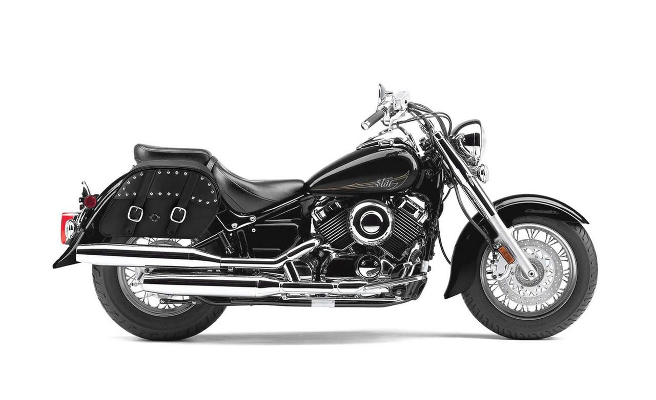 Yamaha V Star 650 Classic Slanted Medium Studded Motorcycle Saddlebags Bag On Bike View