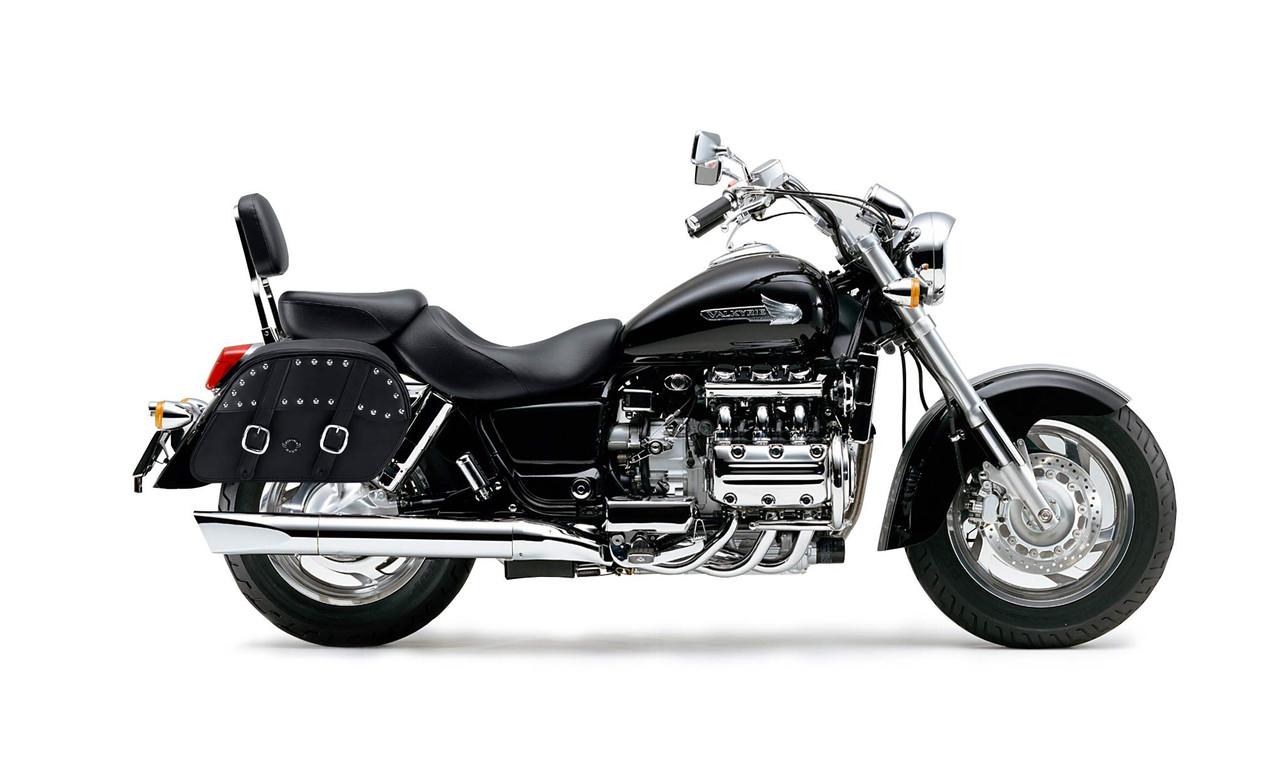 Honda 1500 Valkyrie Standard Slanted Studded M Motorcycle saddlebags Bag On Bike View