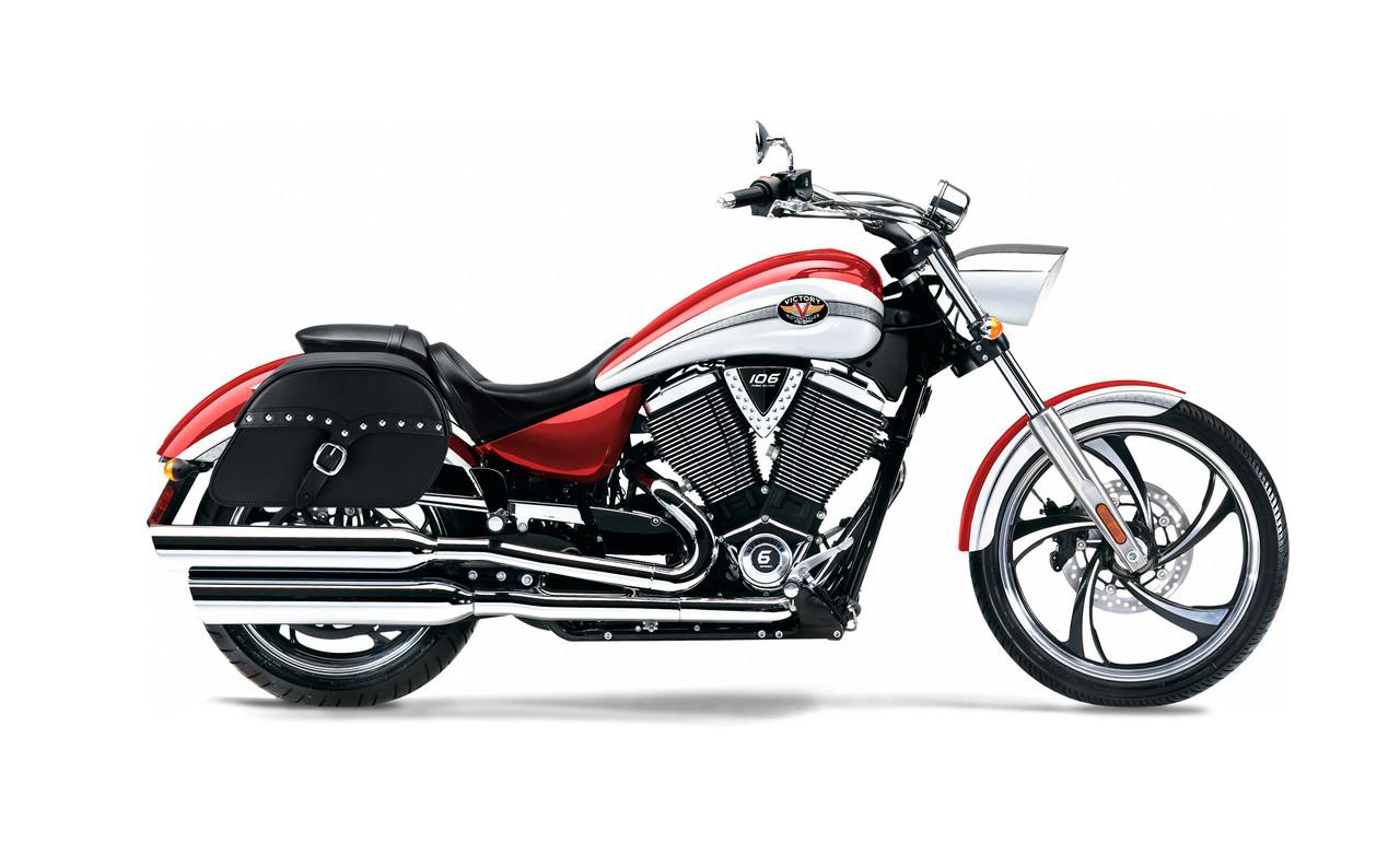 Victory Vegas Medium SS Slanted Studded Motorcycle Saddlebags Bag on Bike View
