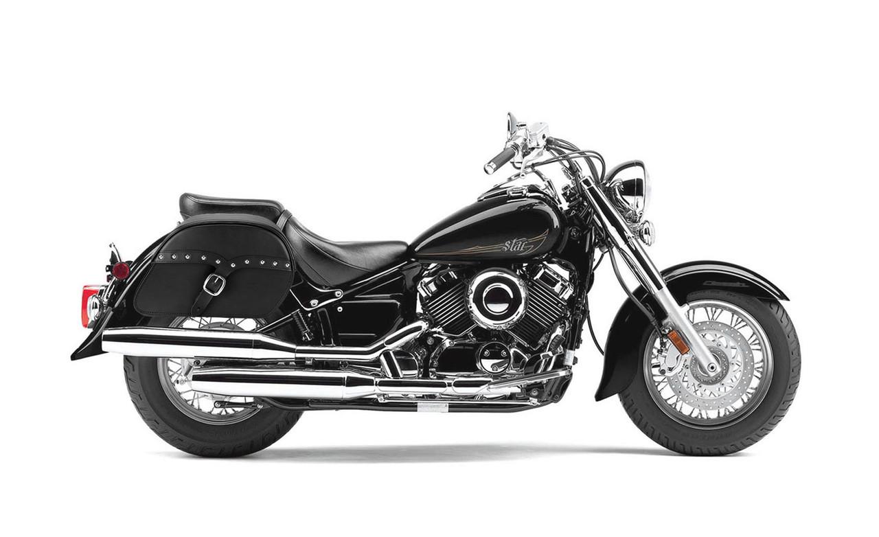 Yamaha V Star 650 Classic Large SS Slanted Studded Motorcycle Saddlebags Bag On Bike View
