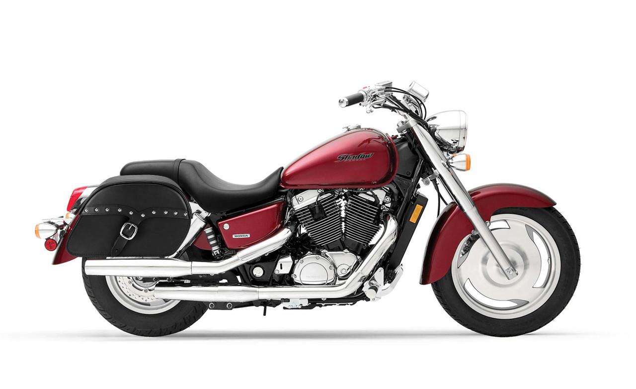 Honda 1100 Shadow Sabre Uni SS Slanted Studded Large Motorcycle Saddlebags Bag on Bike View