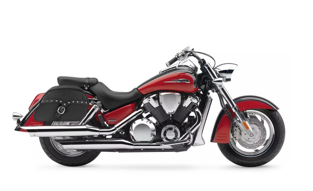 Honda VTX 1800 R SS Slanted Studded M Motorcycle Saddlebags Bag on Bike View