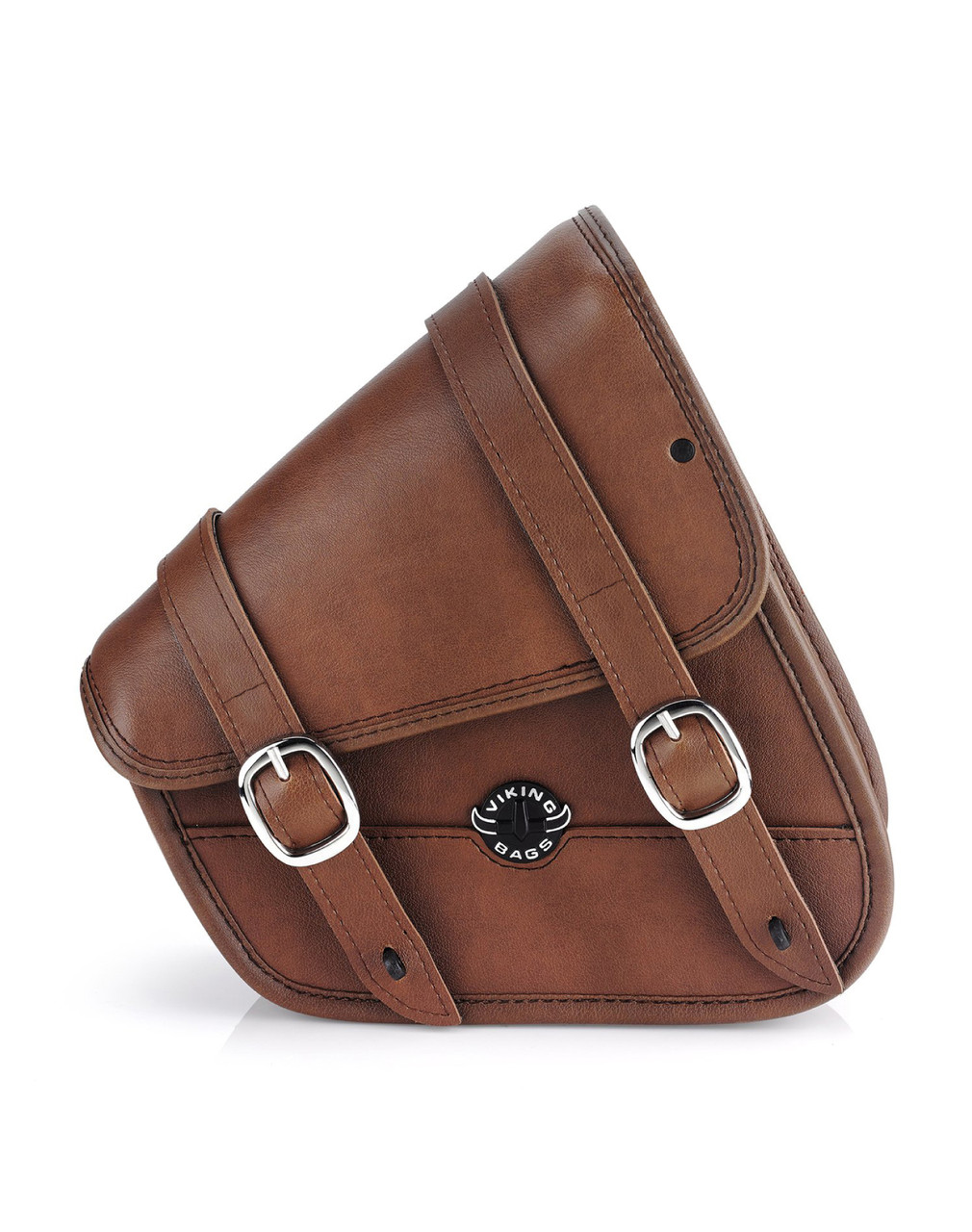 VikingBags Sportster Specific Brown Motorcycle Swing Arm Bag Front View