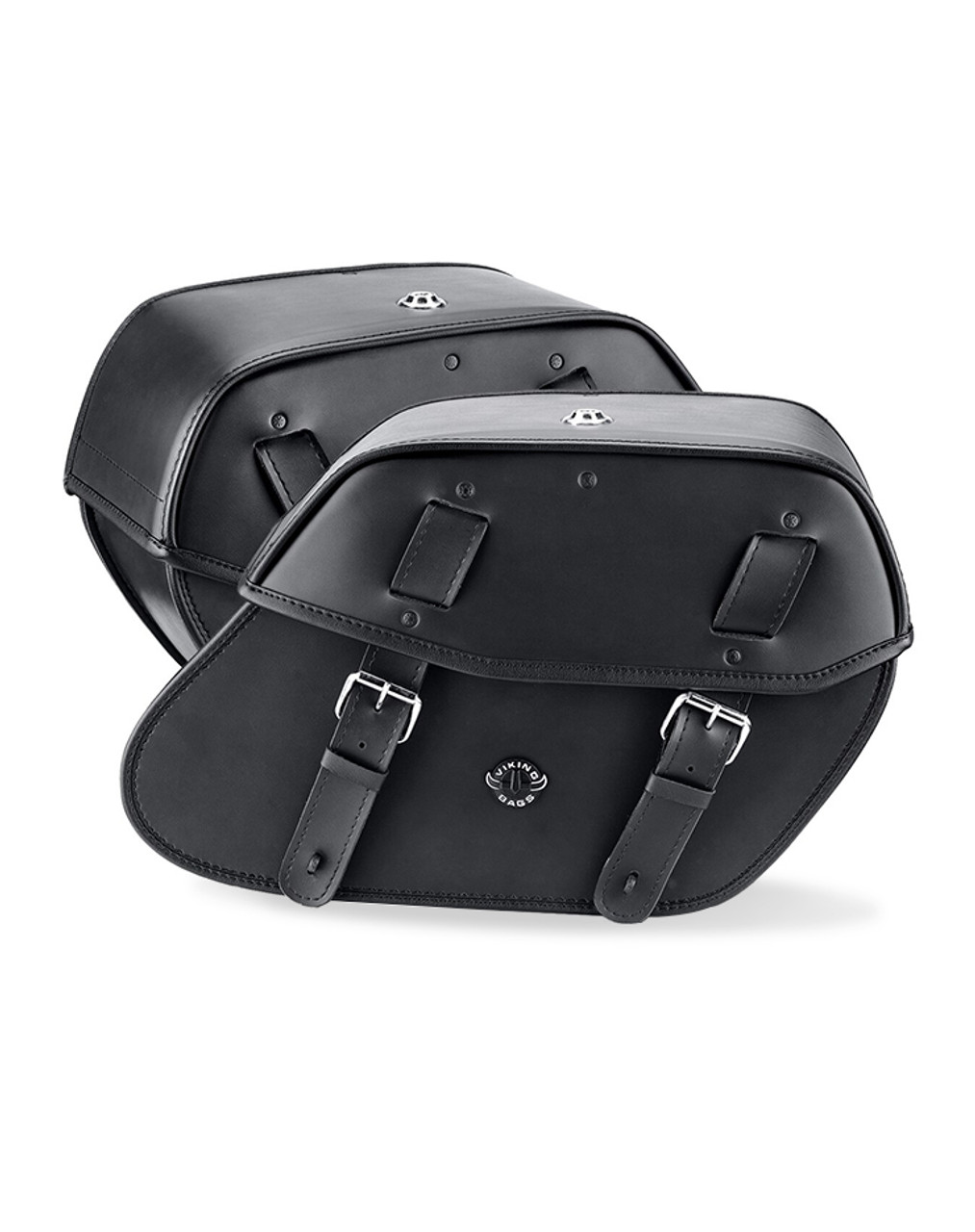 VikingBags Odin Large Double Strap Leather Motorcycle Saddlebags Both Bags View