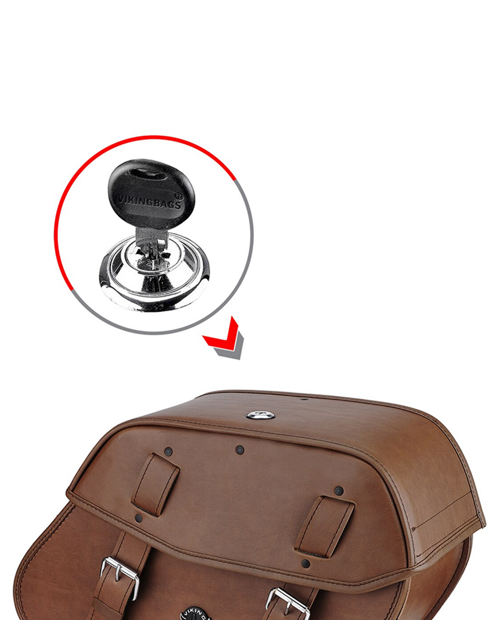 Viking Odin Brown Large Motorcycle Saddlebags For Harley Softail Fatboy FLSTF Lock Key View