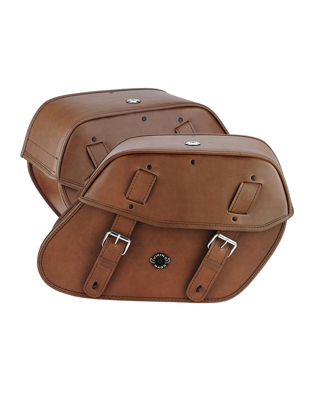 Viking Odin Brown Large Motorcycle Saddlebags For Harley Softail Custom FXSTC Both Bag