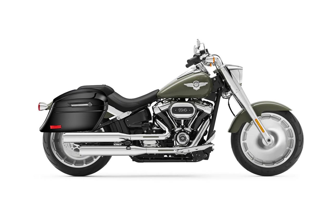 Viking Lamellar Slanted Painted Motorcycle Hard Saddlebags For Harley Softail Fatboy FLSTF Bag on bike view