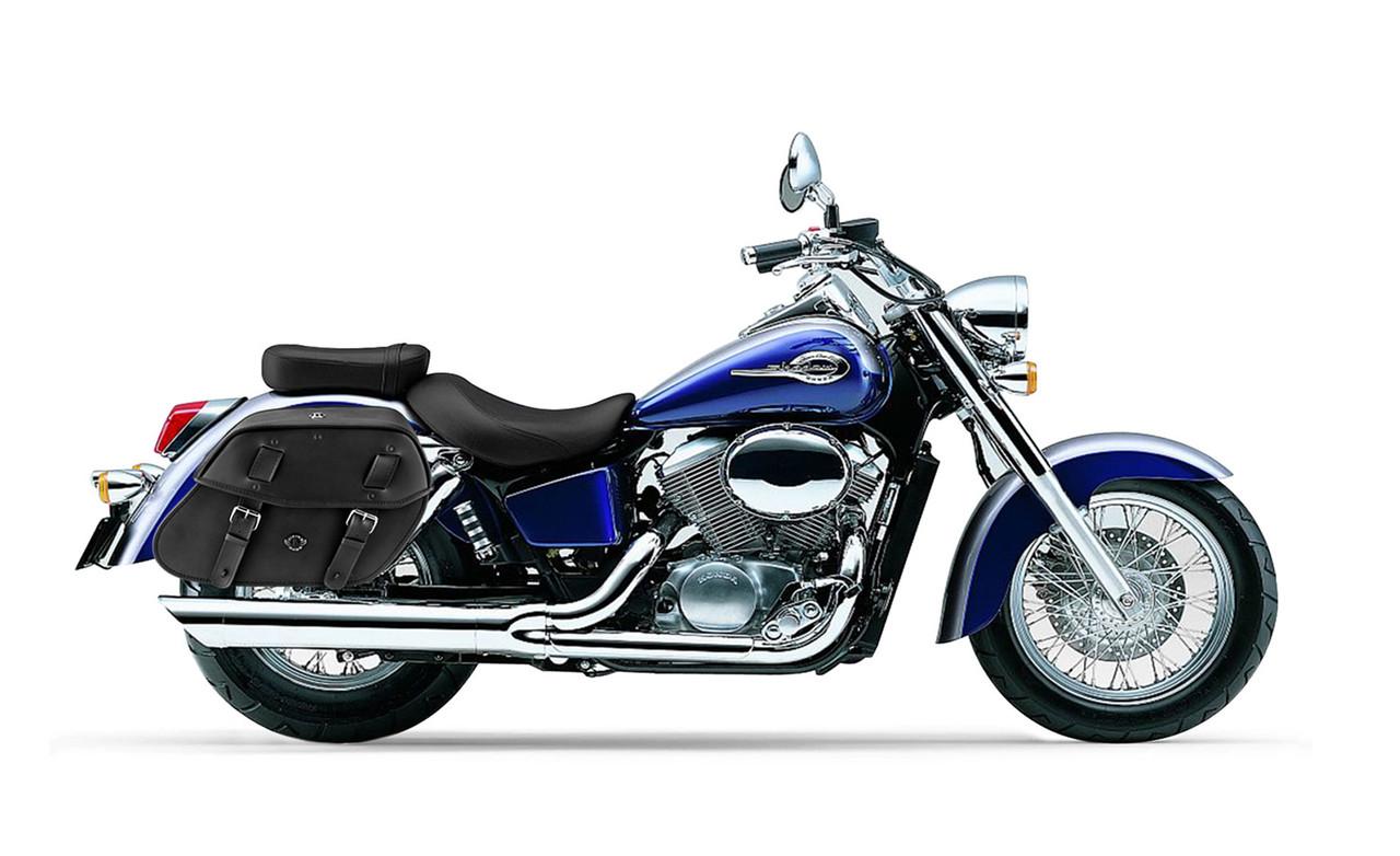 Honda 750 Shadow Ace Viking Odin Large Motorcycle Saddlebags Bag on Bike View