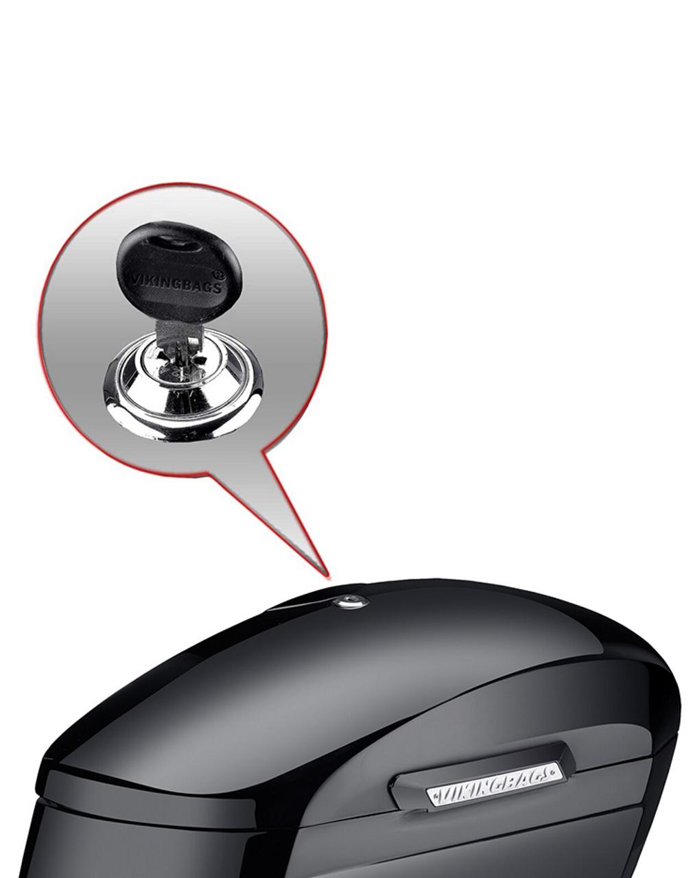Honda VTX 1800 C Viking Lamellar Extra Large Shock Cutout Saddlebag lock key view