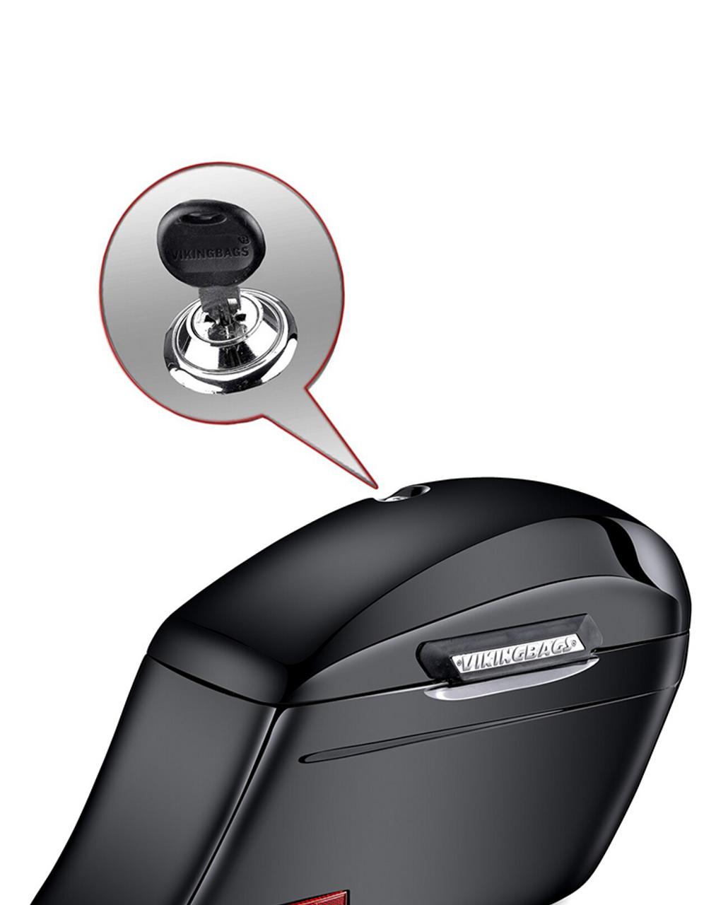 Honda VTX 1800 C Viking Lamellar Slanted Painted Motorcycle Hard Saddlebags lock key view