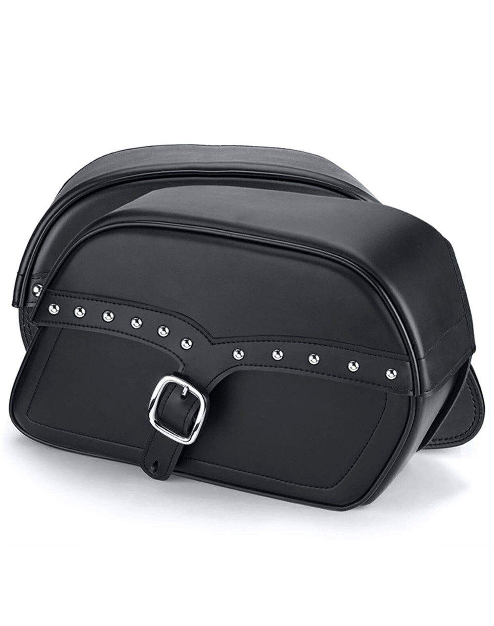 Victory Judge SS Medium Motorcycle Slanted Studded Saddlebags Both Bags View