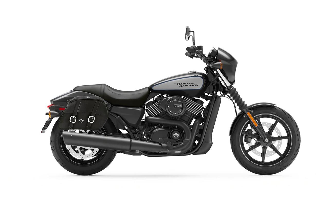Viking Shock Cutout Slanted Large Motorcycle Saddlebags For Harley Street 750 Bag on Bike View