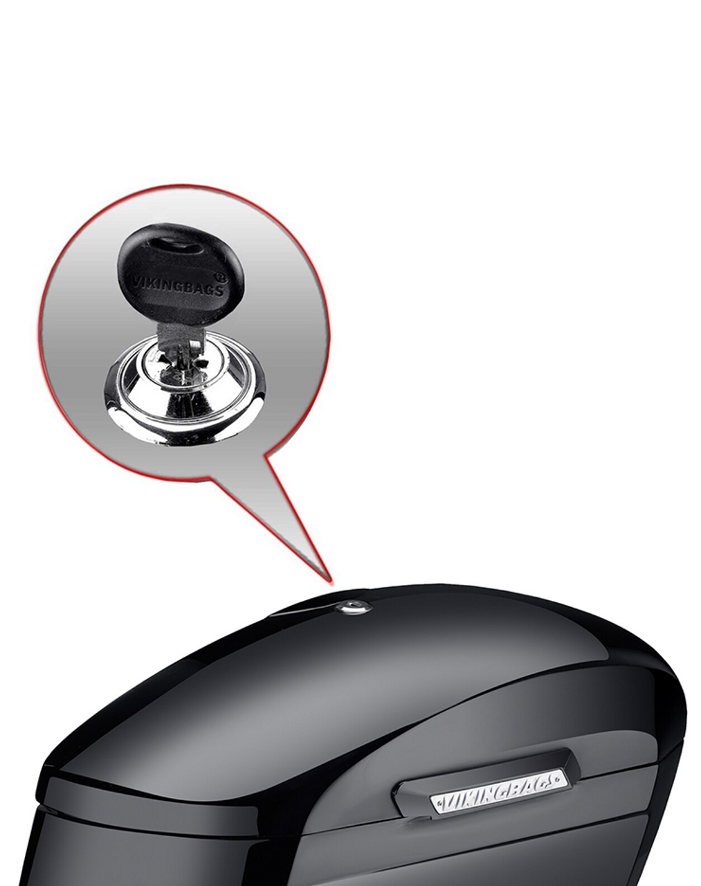 Honda VTX 1800 N Lamellar Extra Large Shock Cutout Saddlebag Key Lock View