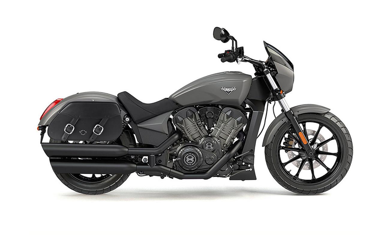 Victory Octane Pinnacle Motorcycle Saddlebags Bag on Bike View