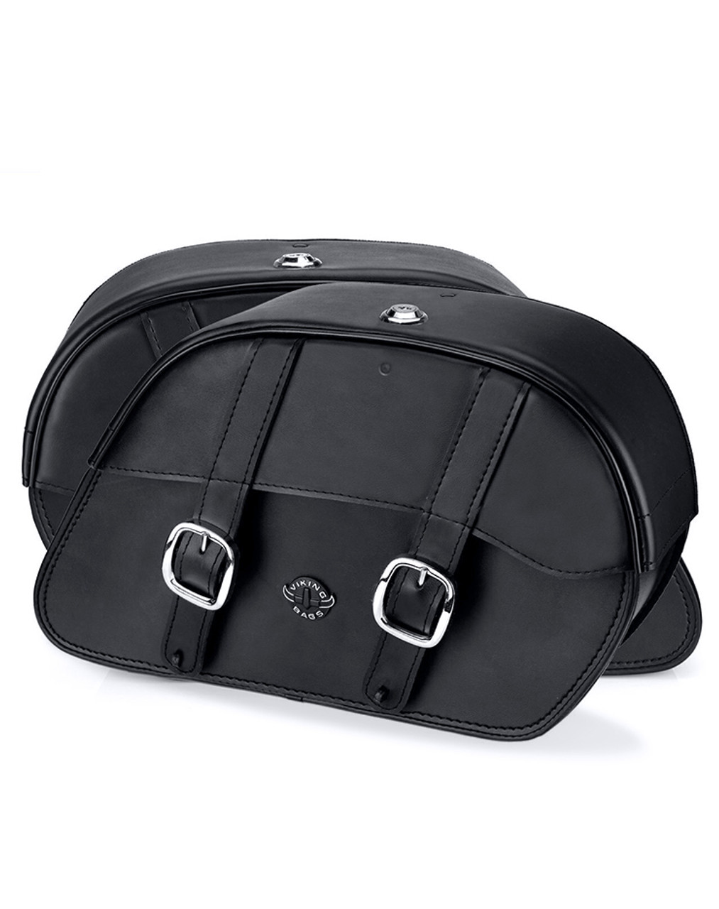 VikingBags Skarner Large Double Strap Victory High Ball Leather Motorcycle Saddlebags both bags view