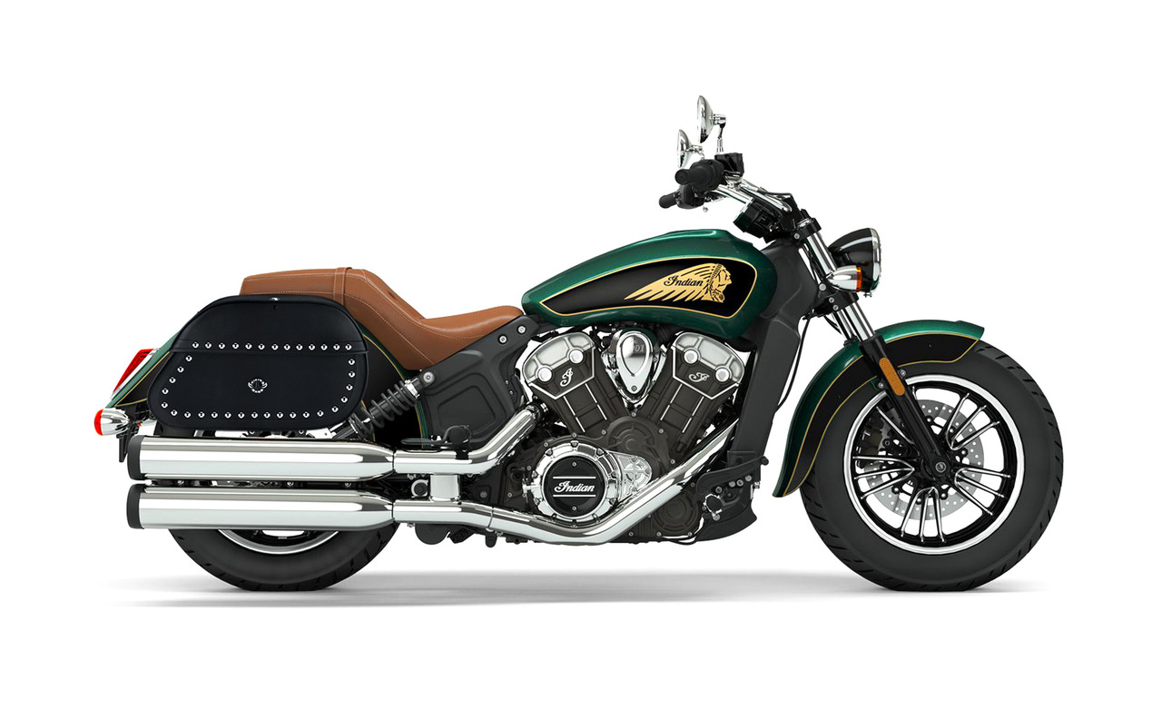 Indian Scout Hammer Series Studded Extra Large Saddlebags Bag On Bike View