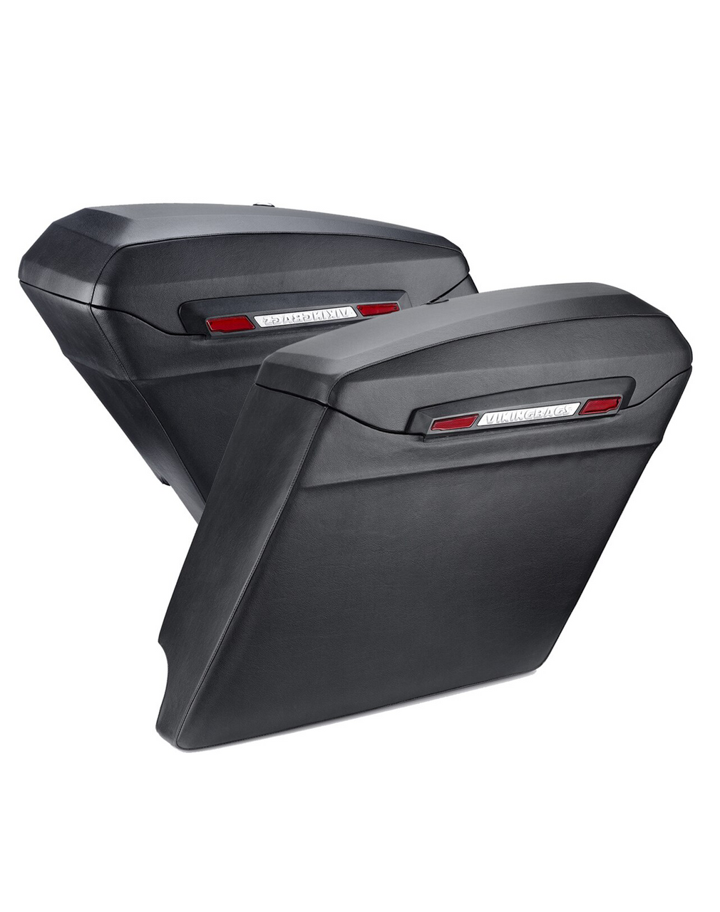 Viking Touring Bagger Leather Covered Extra Large Stretched Saddlebags For Harley Road King Both Bags View
