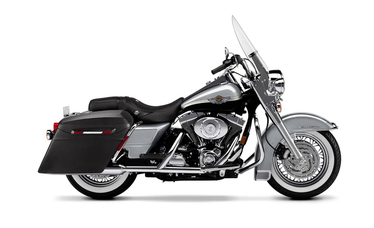 Viking Touring Bagger Leather Covered Extra Large Stretched Saddlebags For Harley Road King Bag on bike View