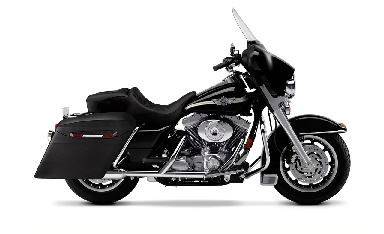 Viking Touring Bagger Leather Covered Stretched Extra Large Saddlebags For Harley Electra Glide Bag on bike View