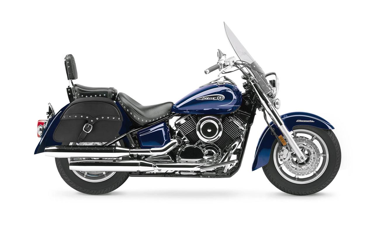 Yamaha Silverado SS Medium Slanted Studded Bags Bag on Bike View