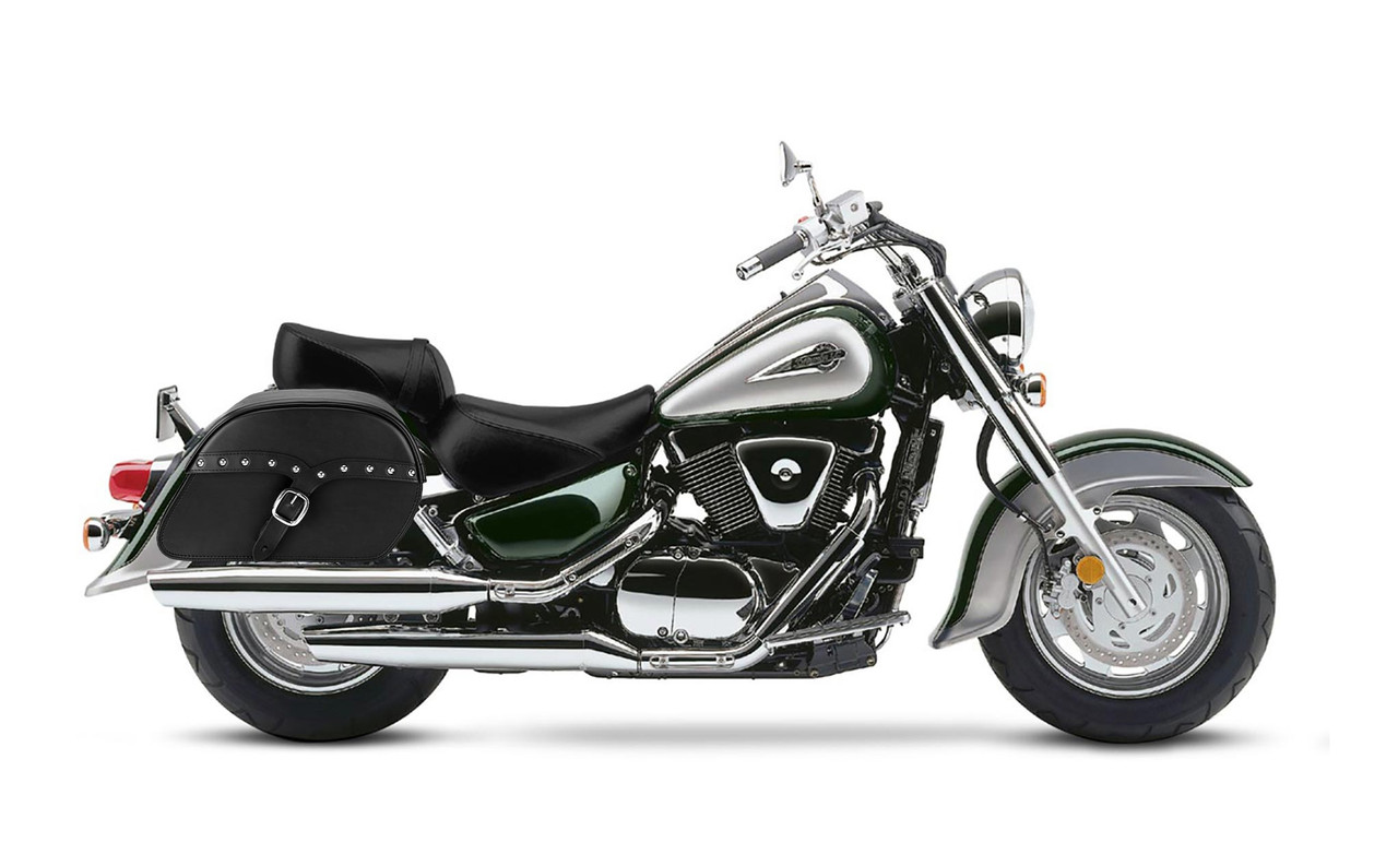 Suzuki Intruder 1500 VL1500 SS Slanted Studded Large Motorcycle Saddlebags Bag On Bike View