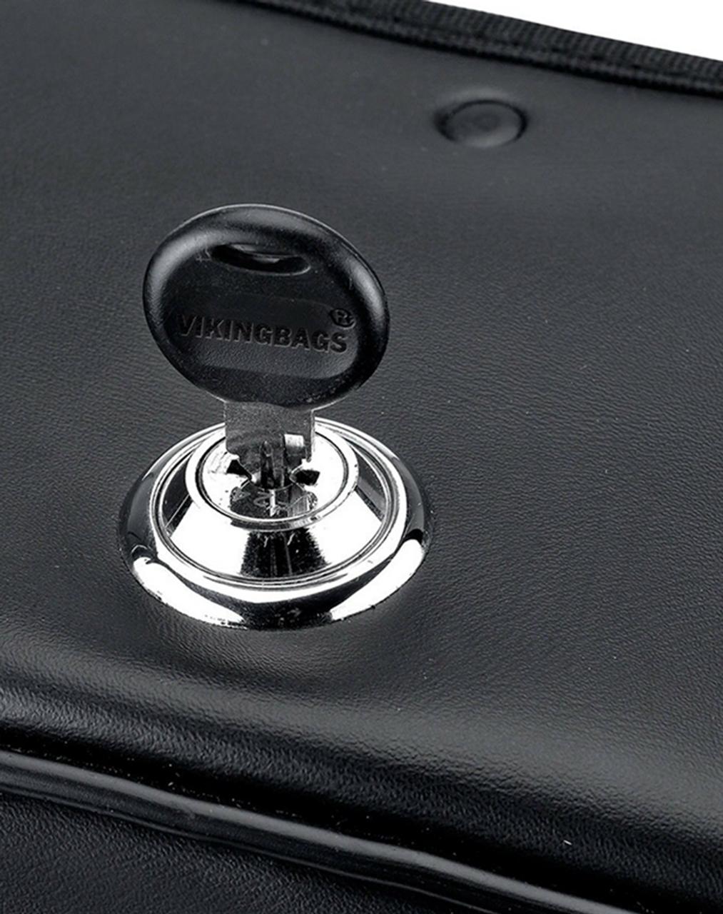 Yamaha Stryker Charger double Straps Slanted Studded Medium Motorcycle Saddlebags lock key view