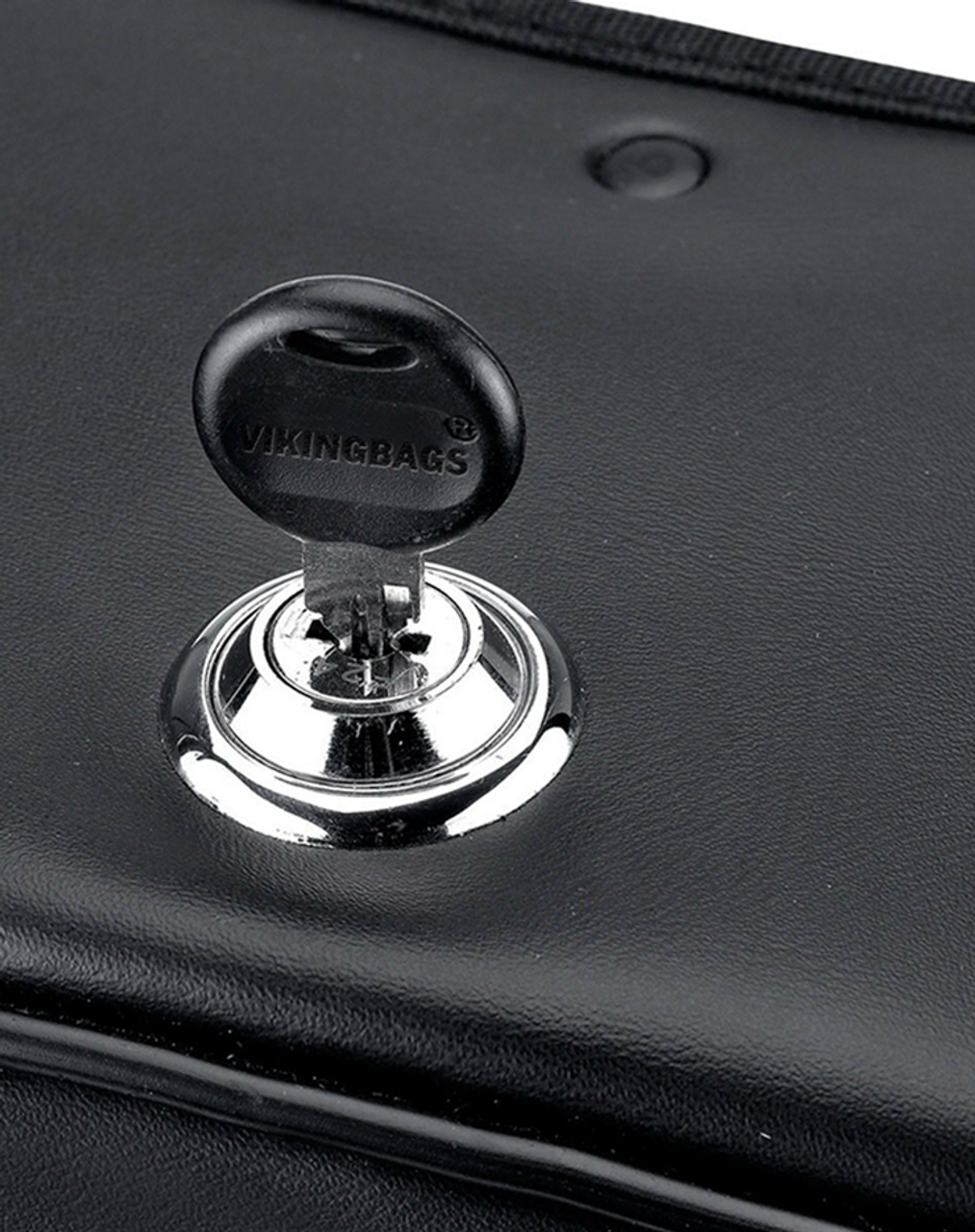 Suzuki Intruder 1500 VL1500 Charger Single Strap Studded Motorcycle Saddlebags Key Lock View