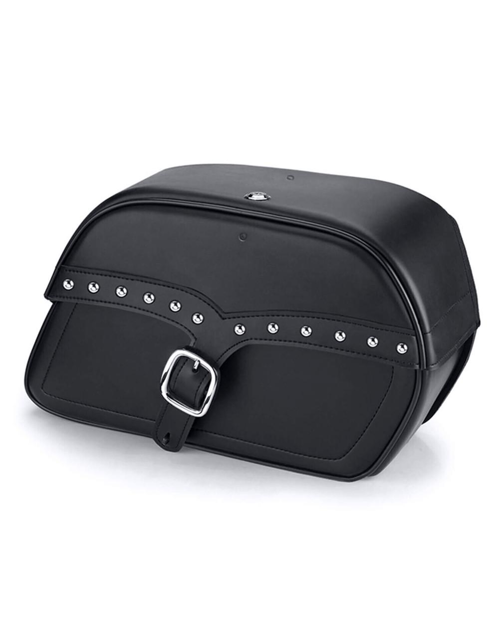 Suzuki Intruder 1500 VL1500 Charger Single Strap Studded Motorcycle Saddlebags Main Bag View