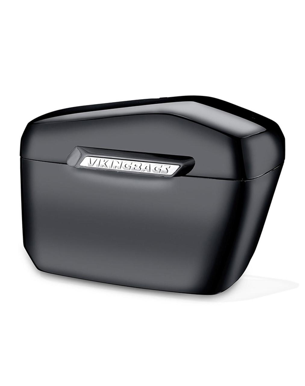 Yamaha Silverado Viking Lamellar Extra Large Black Hard Saddlebags Main Bag View