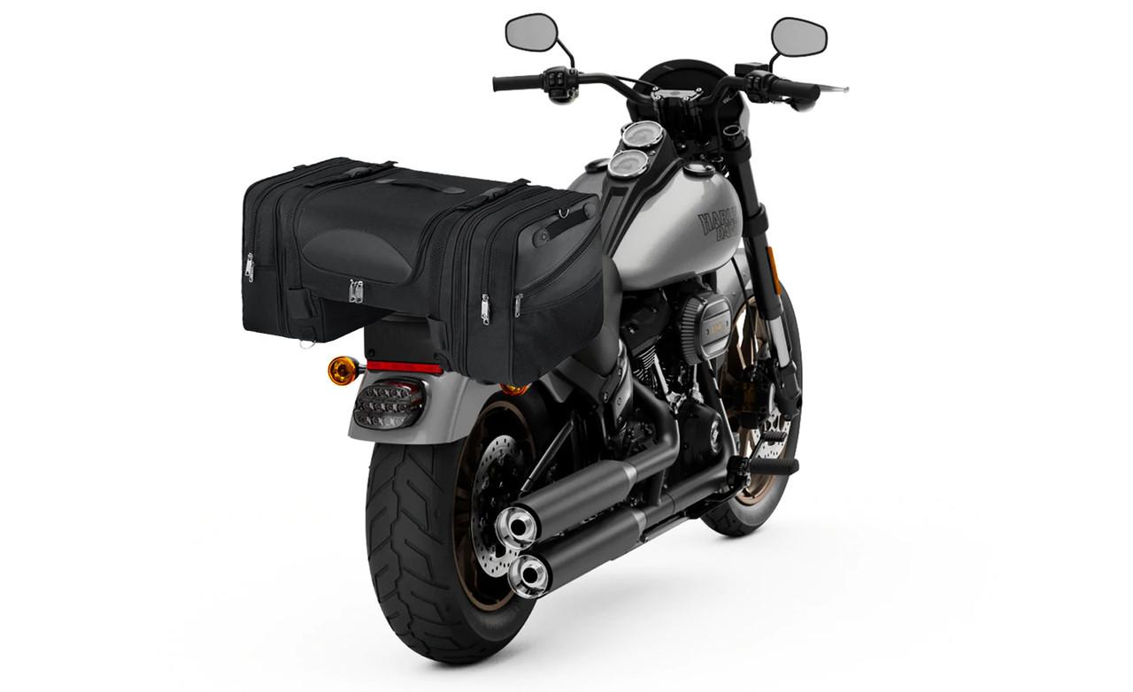 Suzuki Viking Expandable Cruiser Large Motorcycle Sissy Bar Bag on Bike View