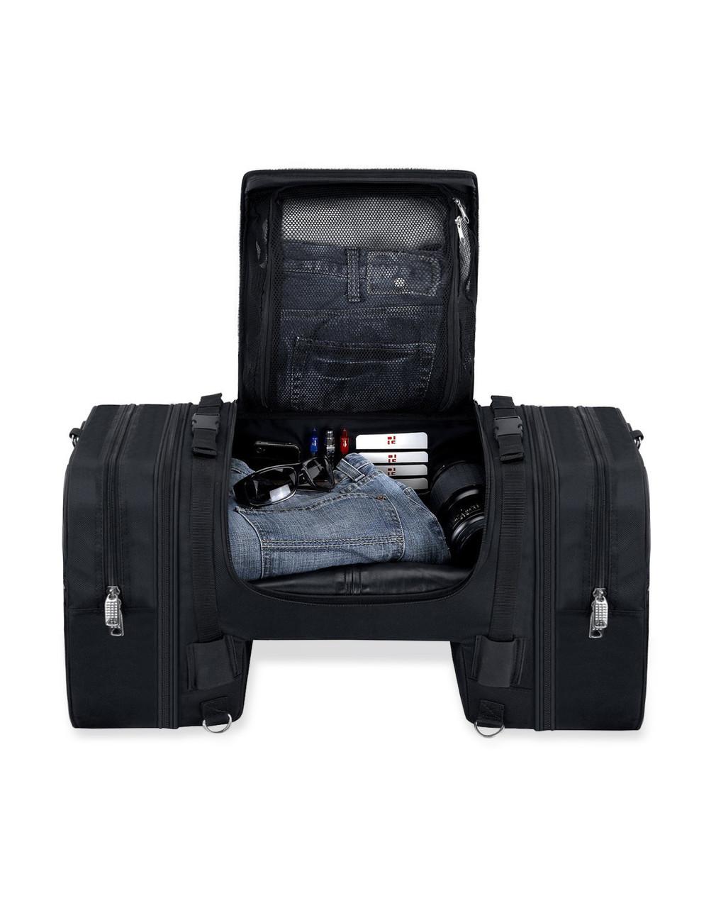 Suzuki Viking Expandable Cruiser Large Motorcycle Sissy Bar Bag Storage View