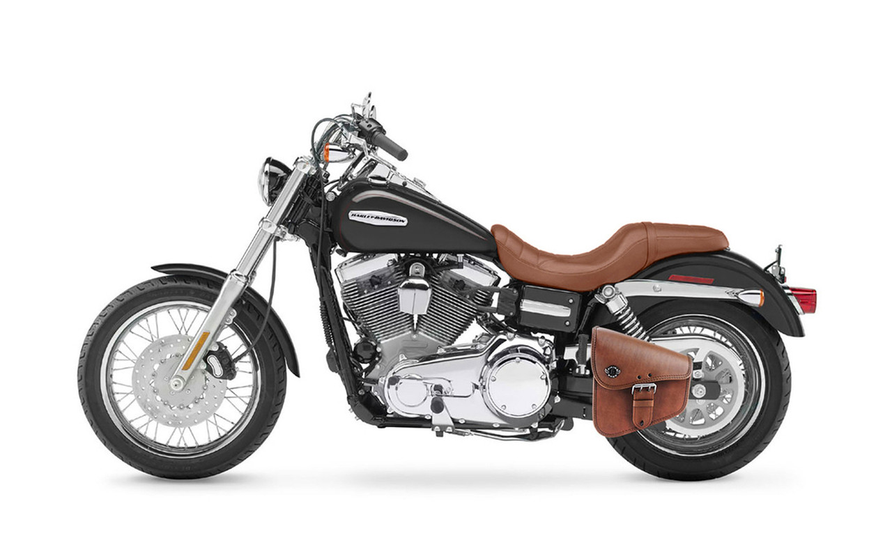 Viking Dellingr Brown Dyna Motorcycle Swing Arm Bag on Bike