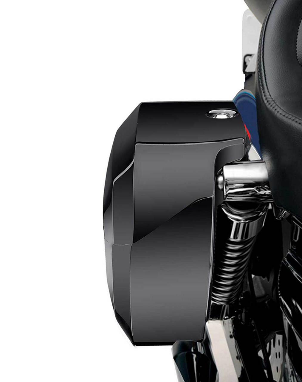 Viking Lamellar Large Painted Shock Cutout Hard Saddlebags For Harley Dyna Street Bob FXDB shock cutout view