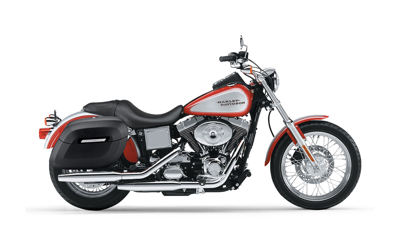 Viking Lamellar Large Leather Shock Cutout Hard Saddlebags For Harley Dyna Low Rider FXDL Bag On Bike View