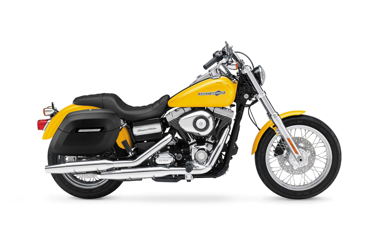 Viking Lamellar Large Leather Shock Cutout Hard Saddlebags For Harley Dyna Super Glide FXD bag on bike view