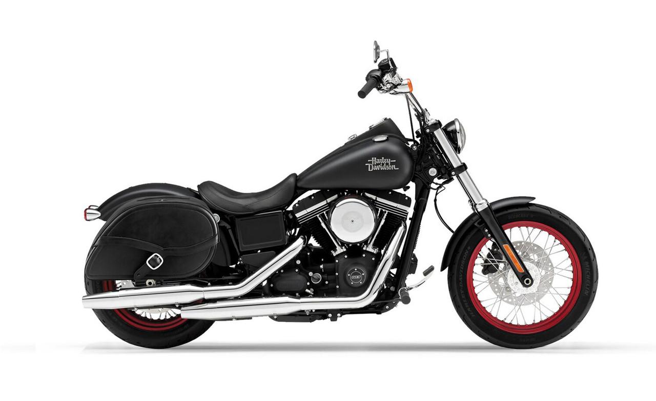 Viking Armor Shock Cutout Large Motorcycle Saddlebags For Harley Dyna Street Bob FXDB Bag On Bike View