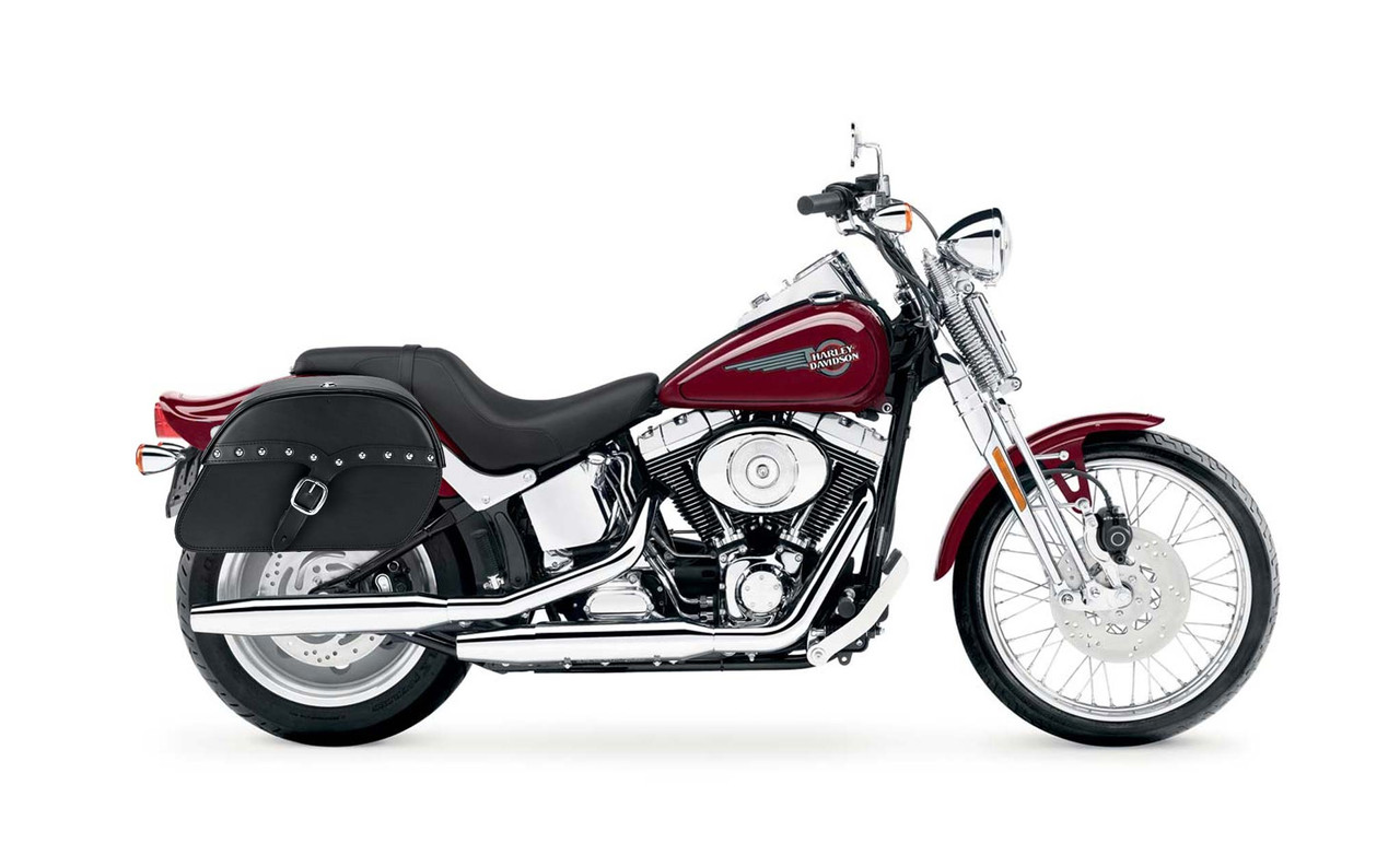Viking Charger Single Strap Studded Medium Motorcycle Saddlebags For Harley Softail Springer FXSTS bag on bike view