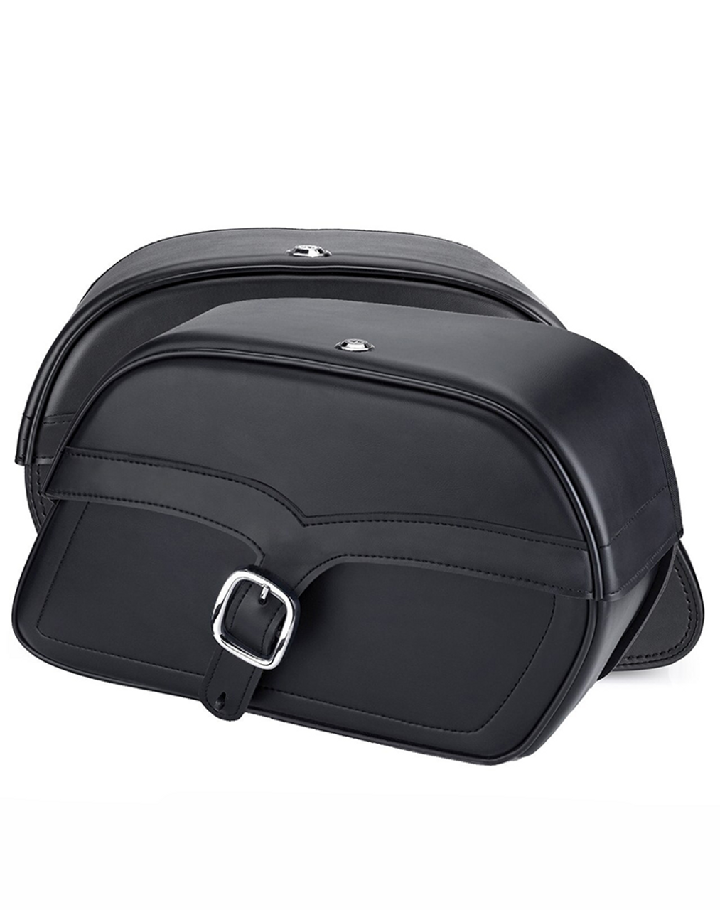 Viking Charger Single Strap Medium Motorcycle Saddlebags For Harley Softail Standard FXST Both bag view