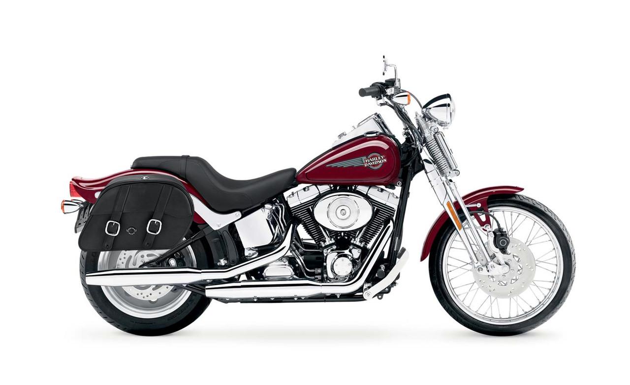 Viking Charger Slanted Medium Motorcycle Saddlebags For Harley Softail Springer FXSTS bag on bike view