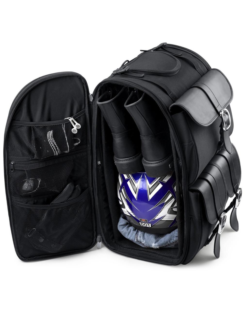Honda Viking Extra Large Plain Motorcycle Sissy Bar Bag Storage View