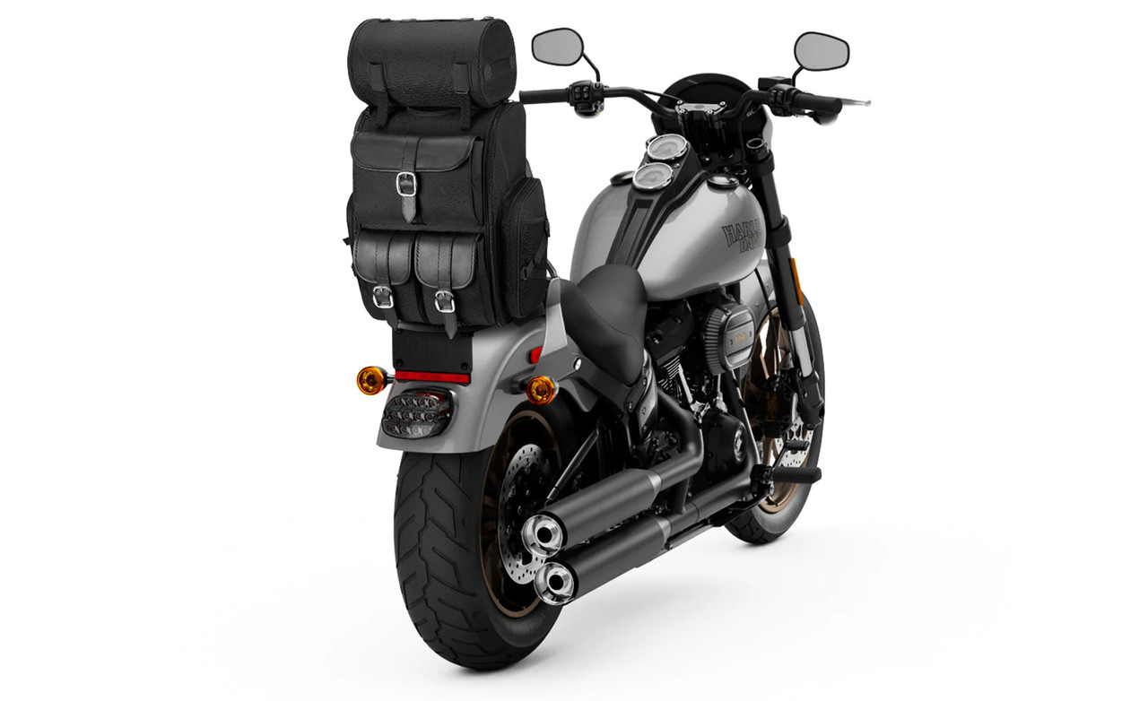 Kawasaki Viking Extra Large Plain Motorcycle Sissy Bar Bag on Bike View